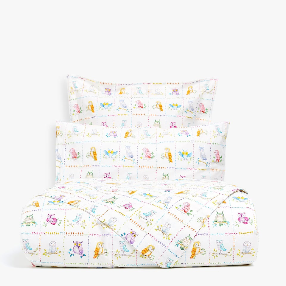 MULTICOLOURED OWL PRINT DUVET COVER
