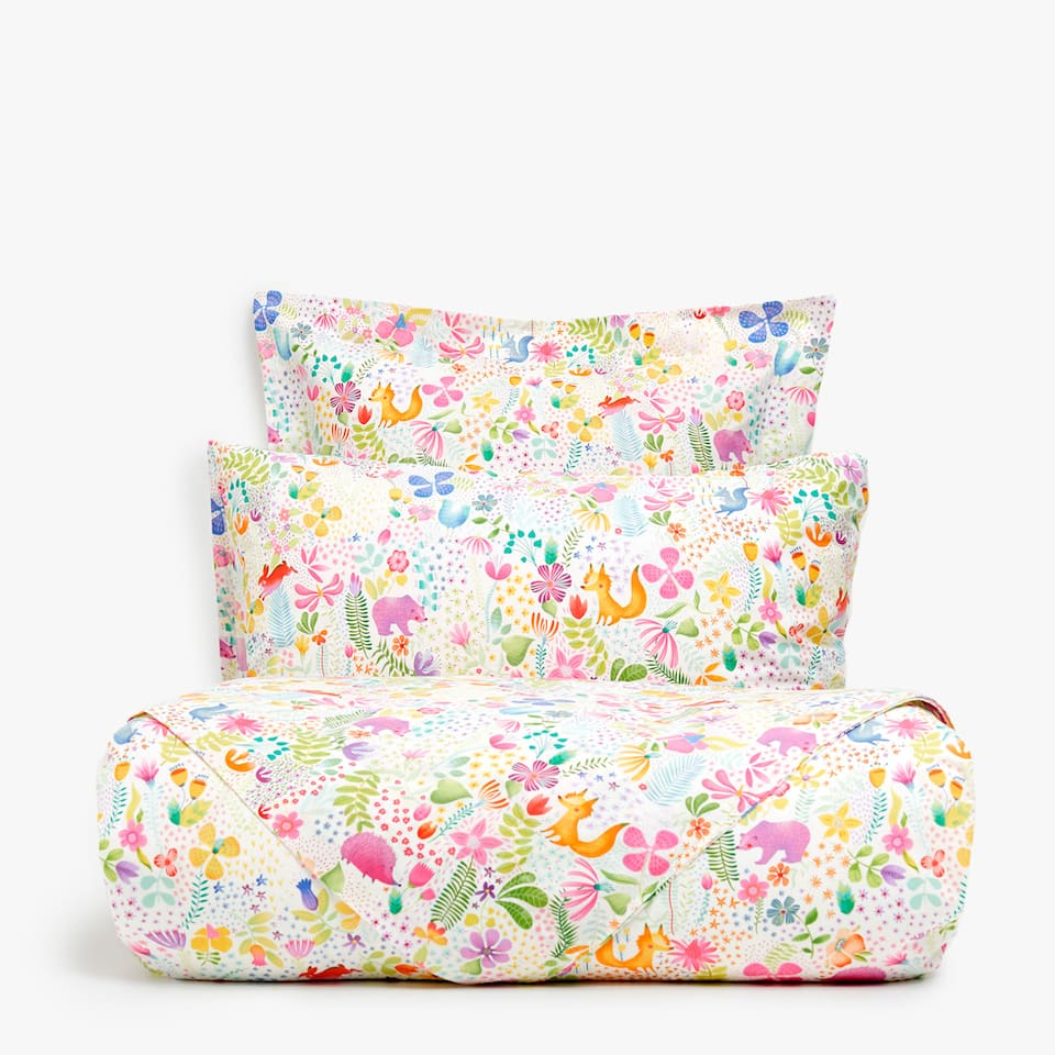 ANIMAL AND FLORAL PRINT DUVET COVER