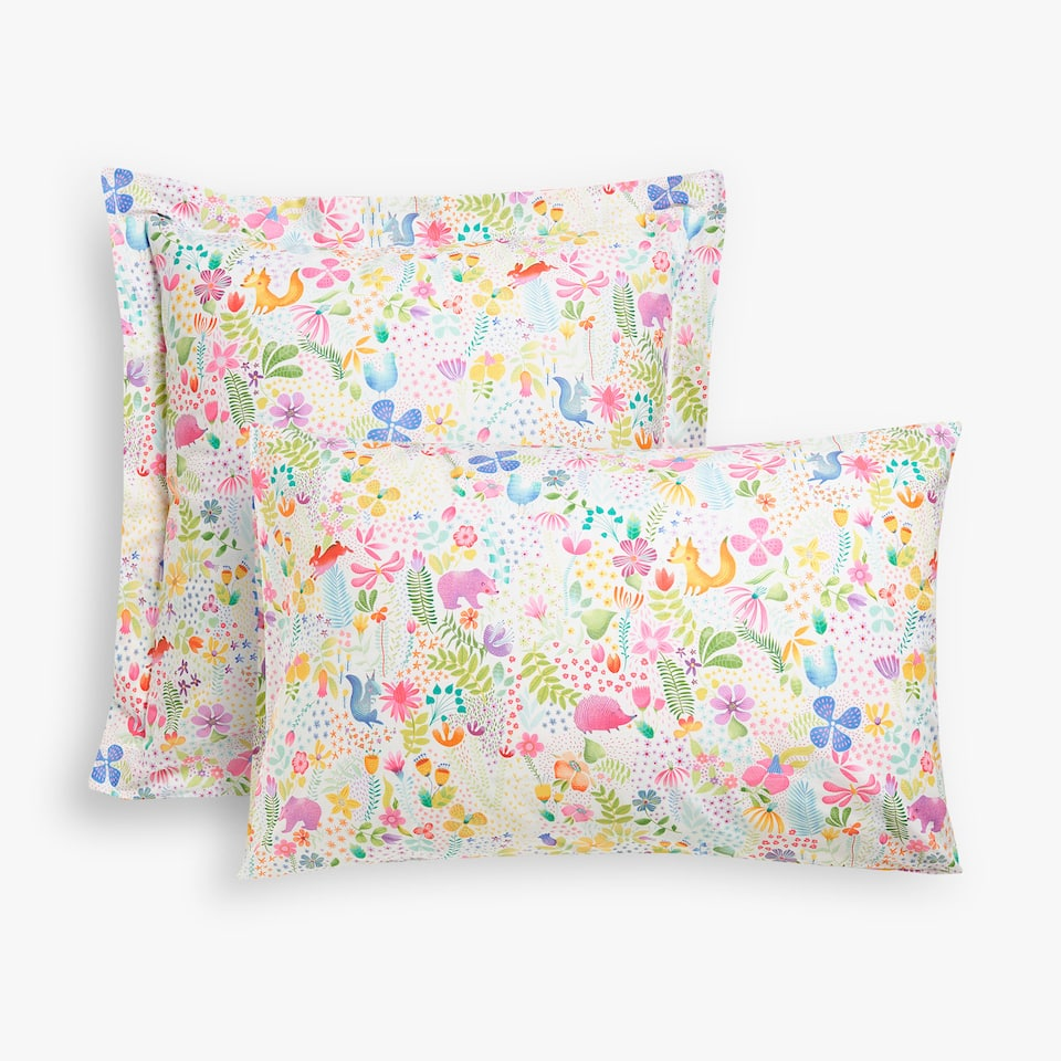 ANIMAL AND FLORAL PRINT PILLOW CASE