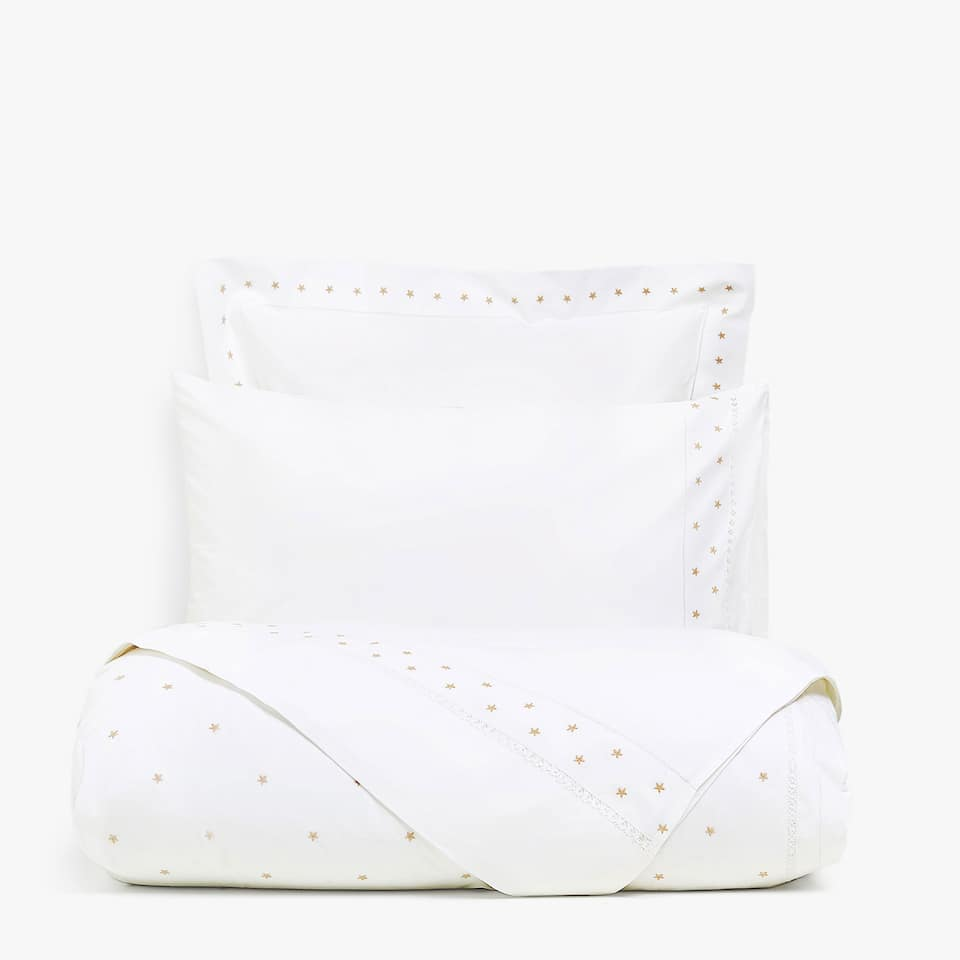 DUVET COVER WITH EMBROIDERED STARS AND HEMSTITCHING