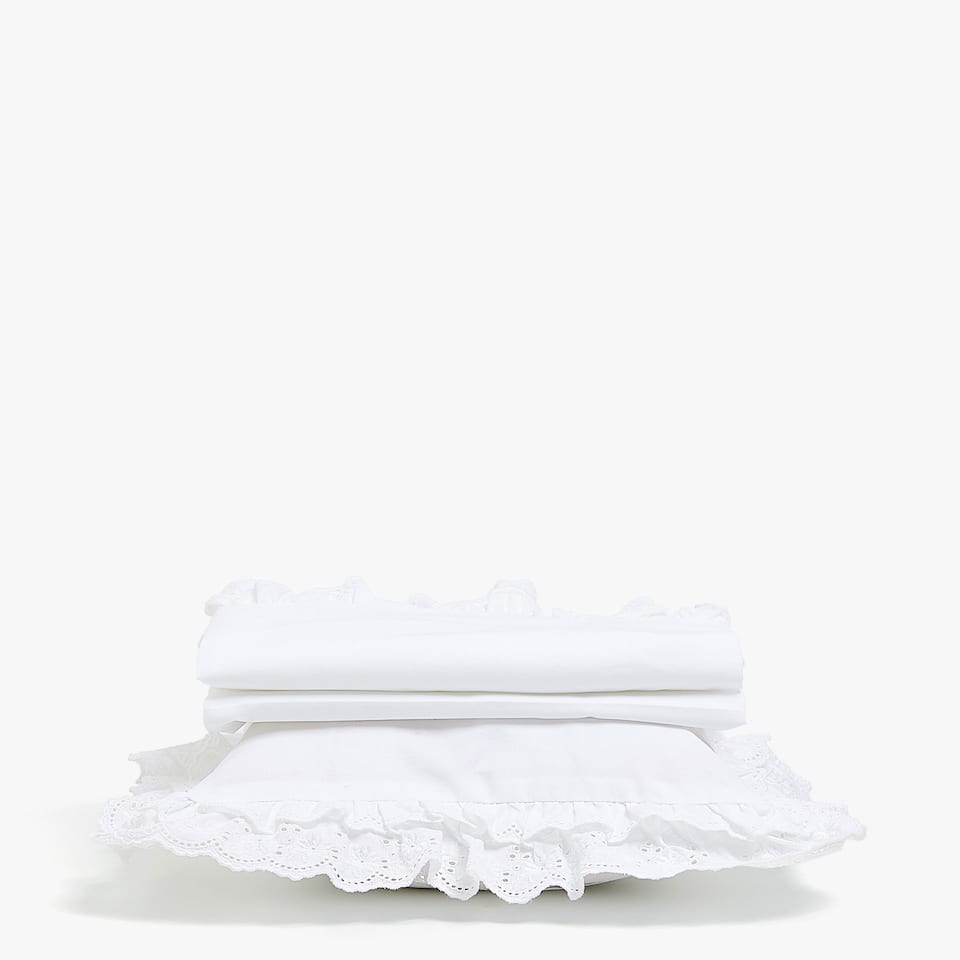 EMBROIDERED DOUBLE FRILL SET OF SHEETS FOR MOSES BASKET AND MINI COT