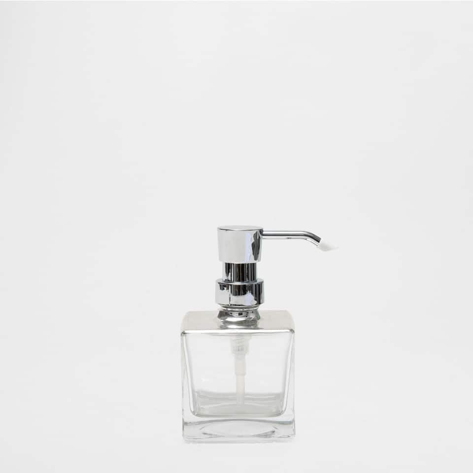 GLASS DISPENSER WITH A SILVER TOP