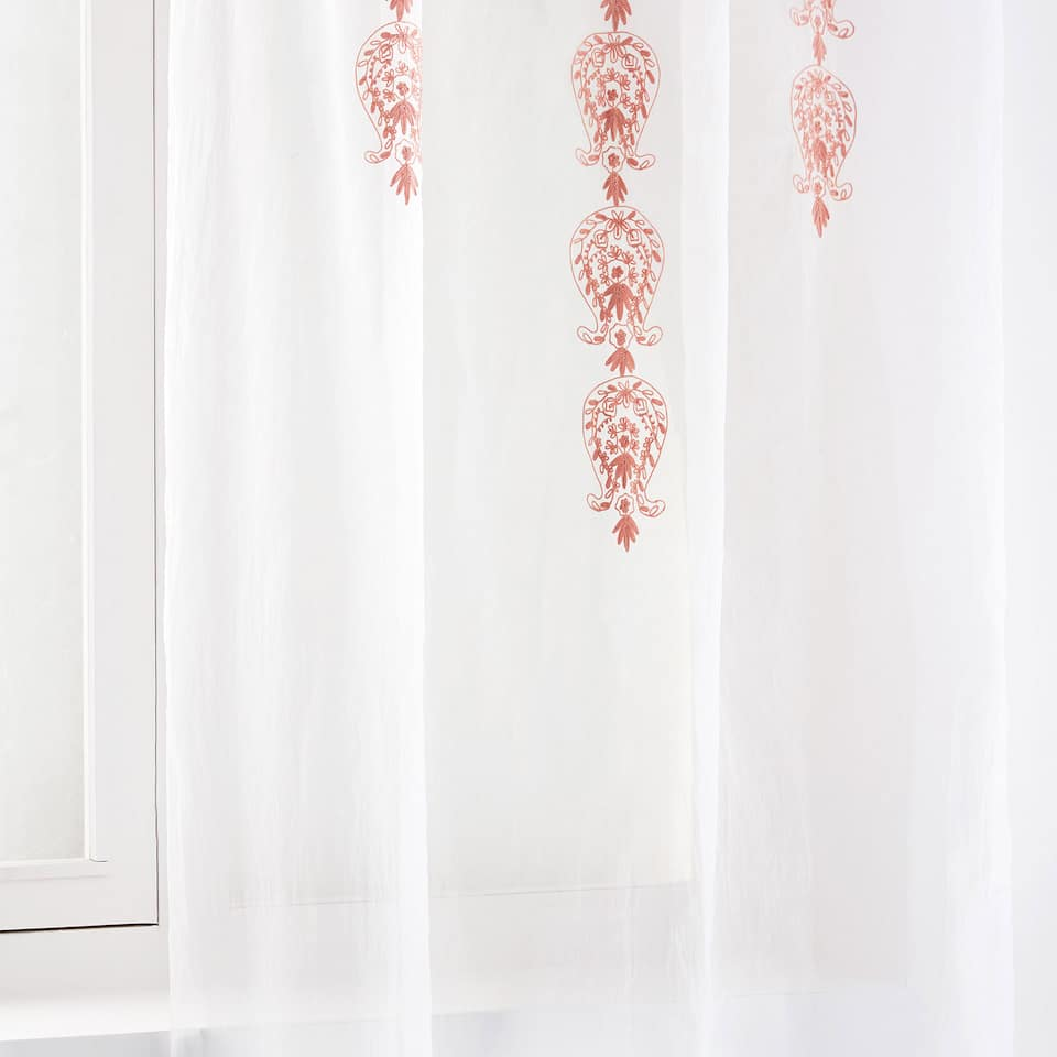 EMBROIDERED COTTON ORGANZA CURTAIN