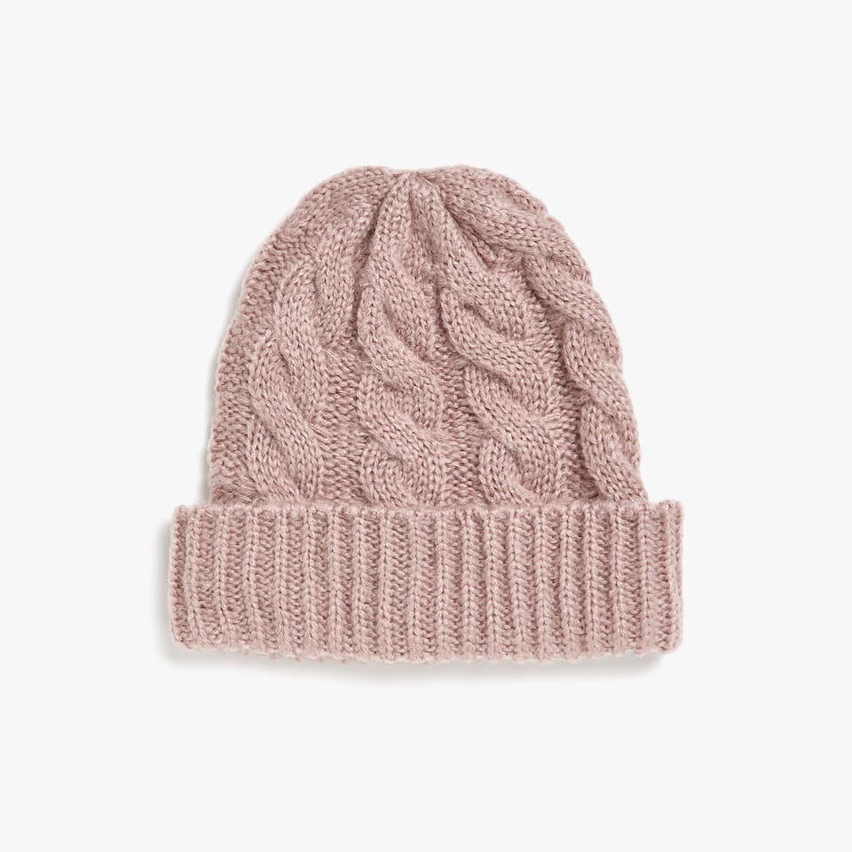 PINK CABLE-KNIT HAT