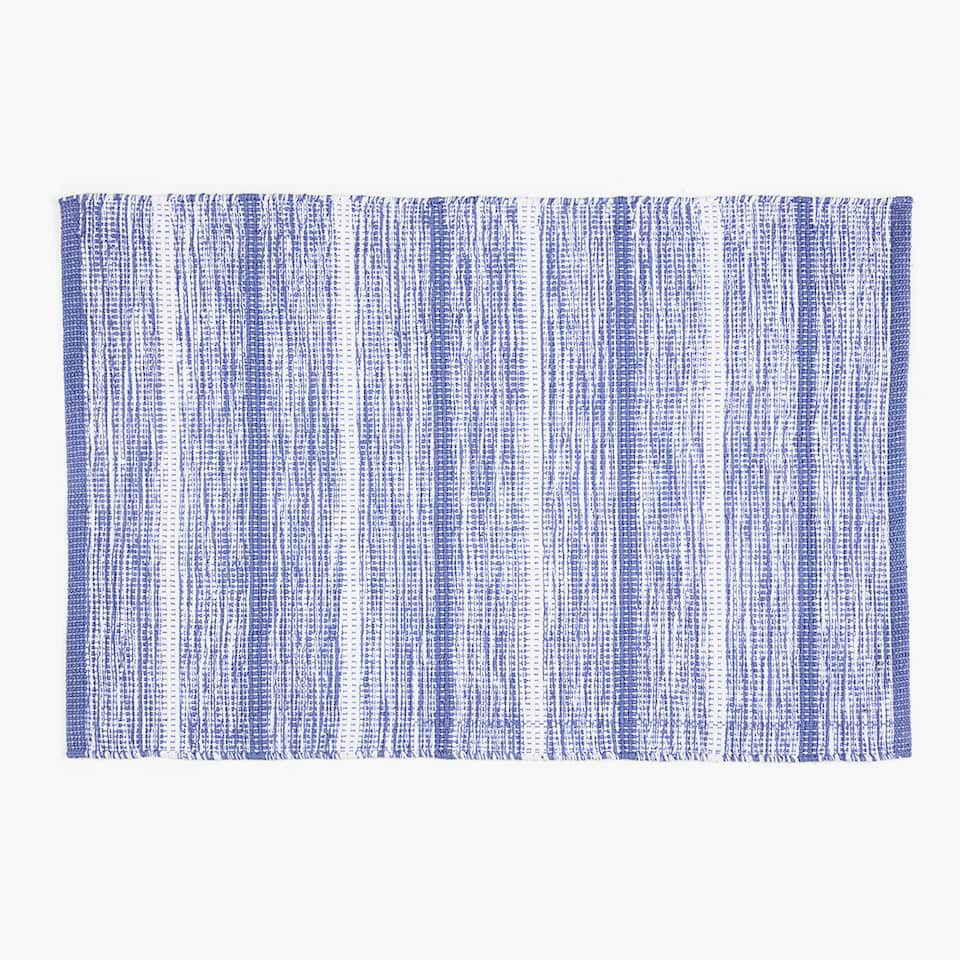 DYED YARN PRINTED COTTON RUG