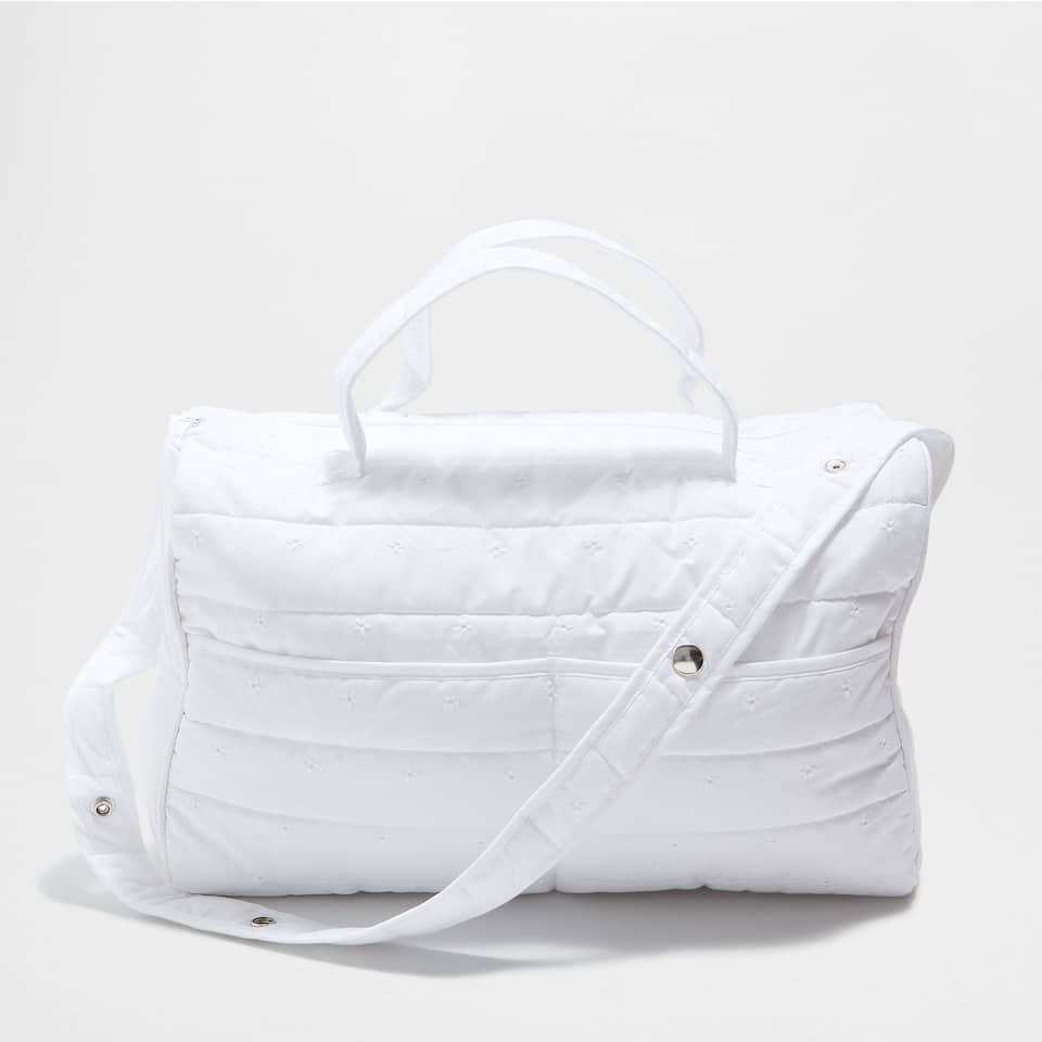 PERCALE COTTON MATERNITY BAG WITH FLORAL EMBROIDERY