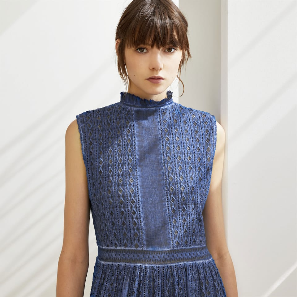BLUE COTTON MIDI DRESS WITH LACE