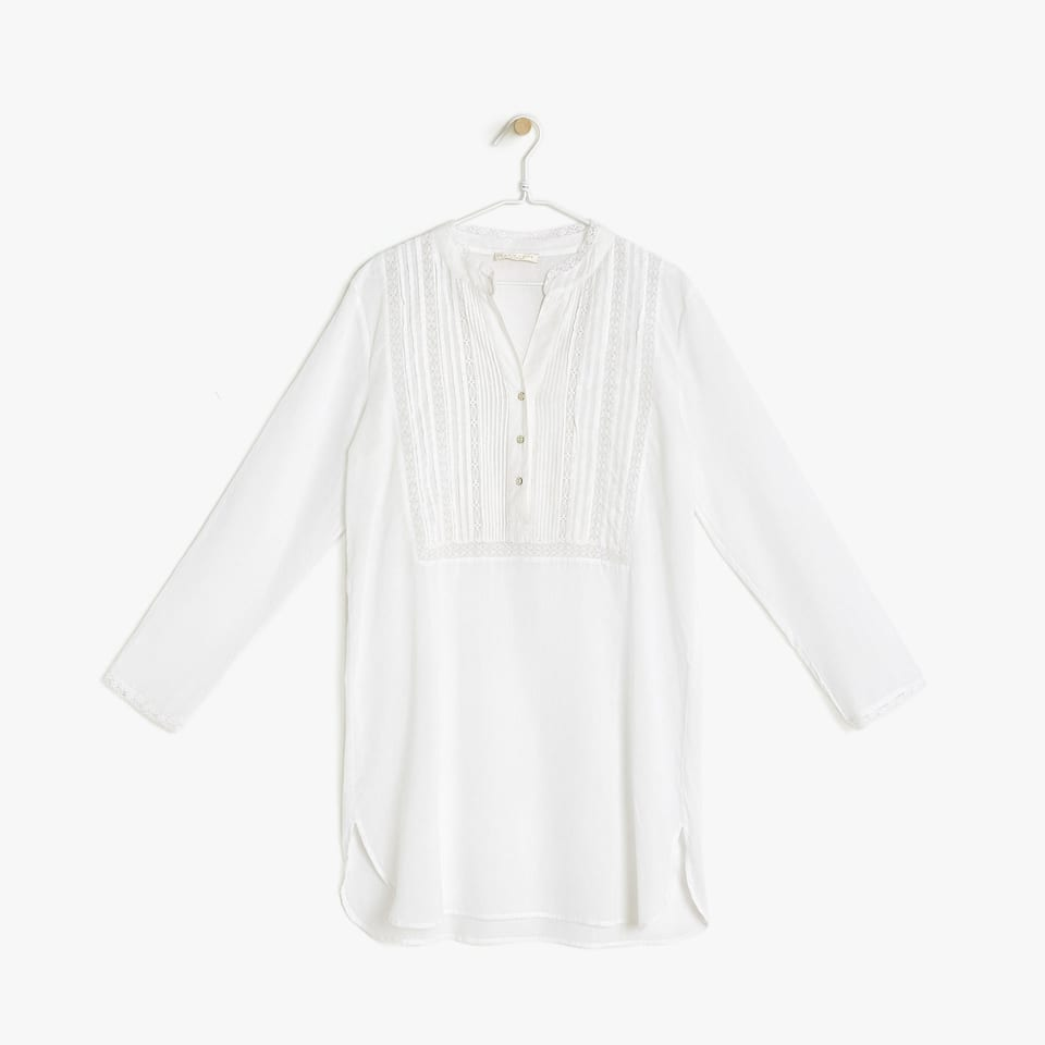COTTON TUNIC WITH MANDARIN COLLAR AND LACE TRIM