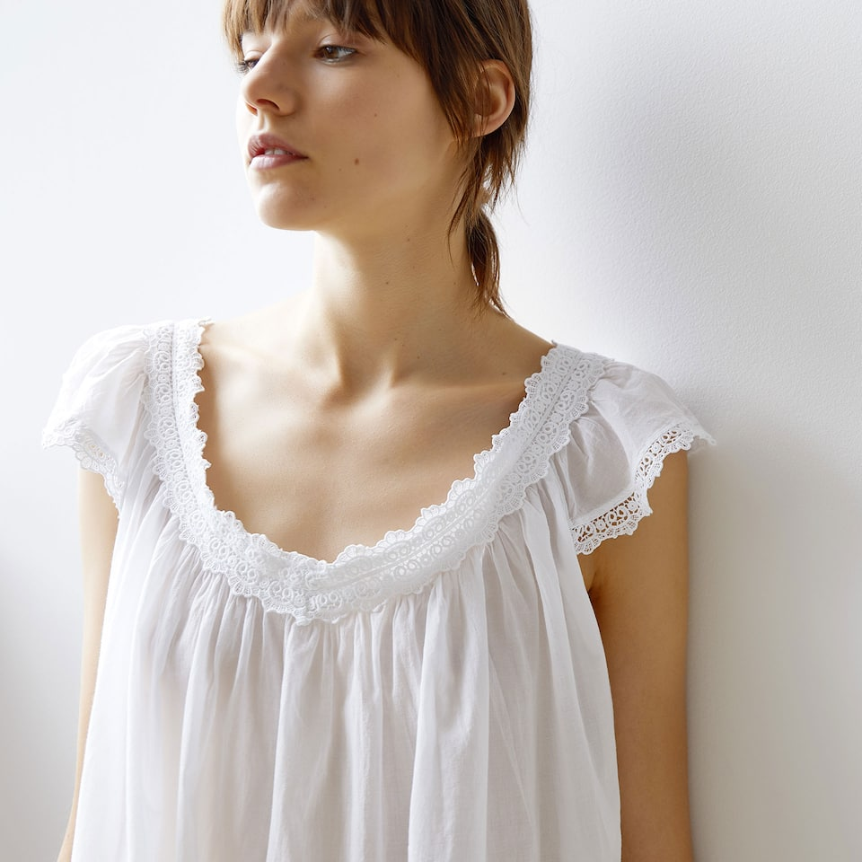 OVERDYED EMBROIDERED COTTON NIGHTDRESS