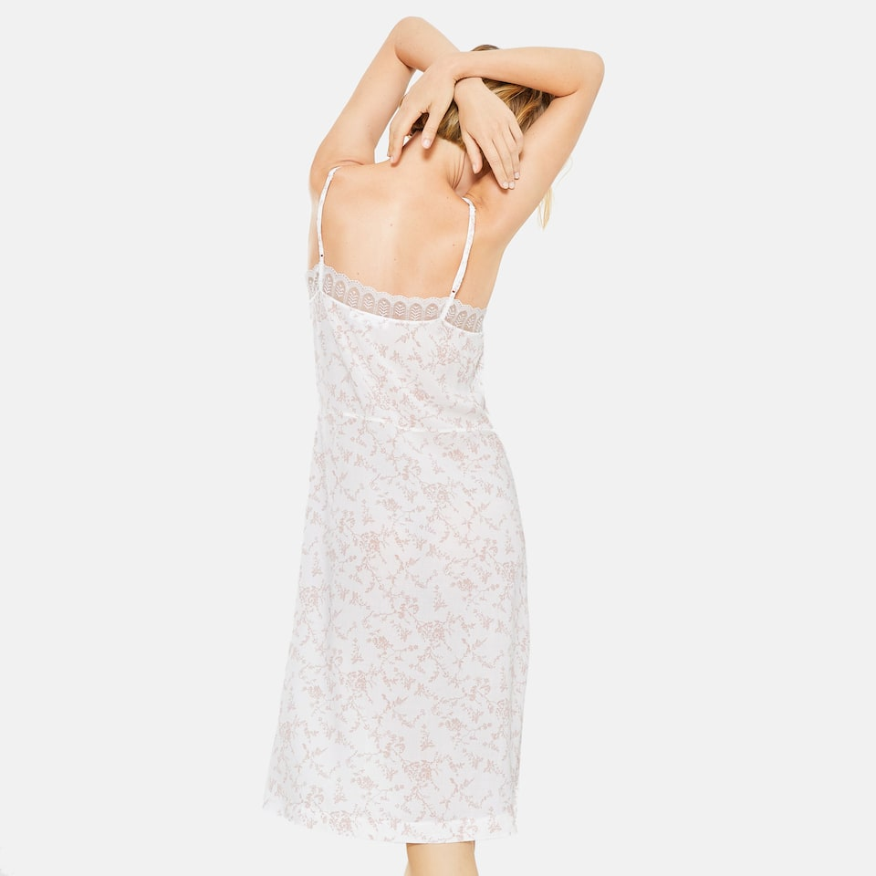 TWO-TONE FLORAL PRINT VISCOSE NIGHTGOWN