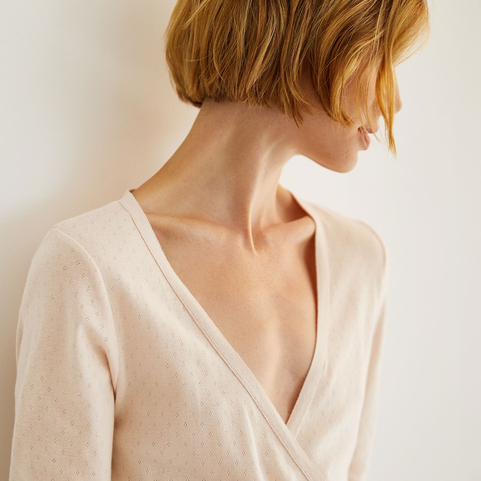 PINK COTTON DRESSING GOWN WITH SIDE BOW