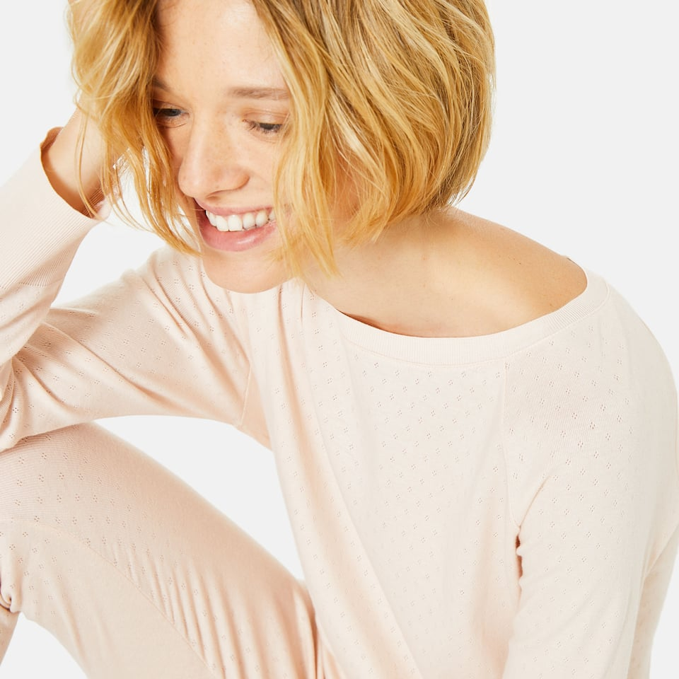 LONG SLEEVE COTTON BOATNECK T-SHIRT