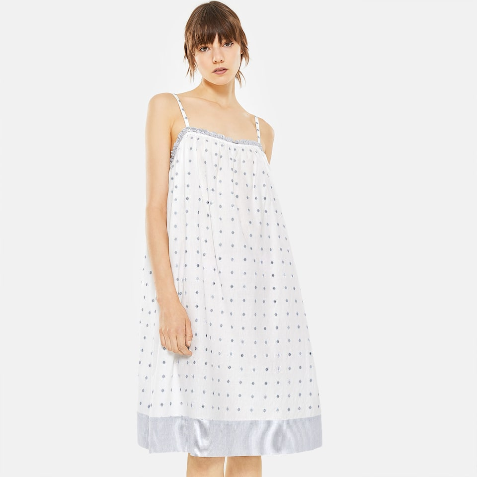 DOTTED MESH NIGHTDRESS WITH CONTRASTING STRIPE