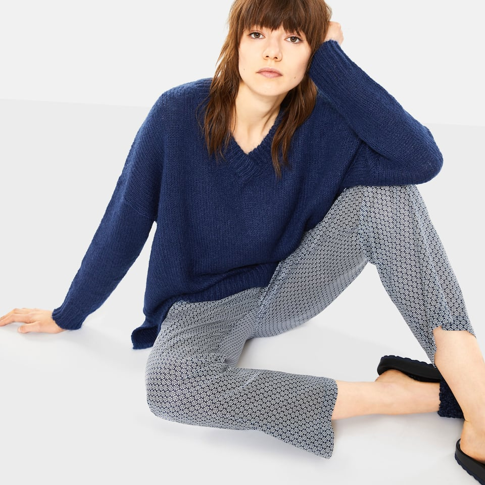 GEOMETRIC FLORAL PRINT COTTON TROUSERS
