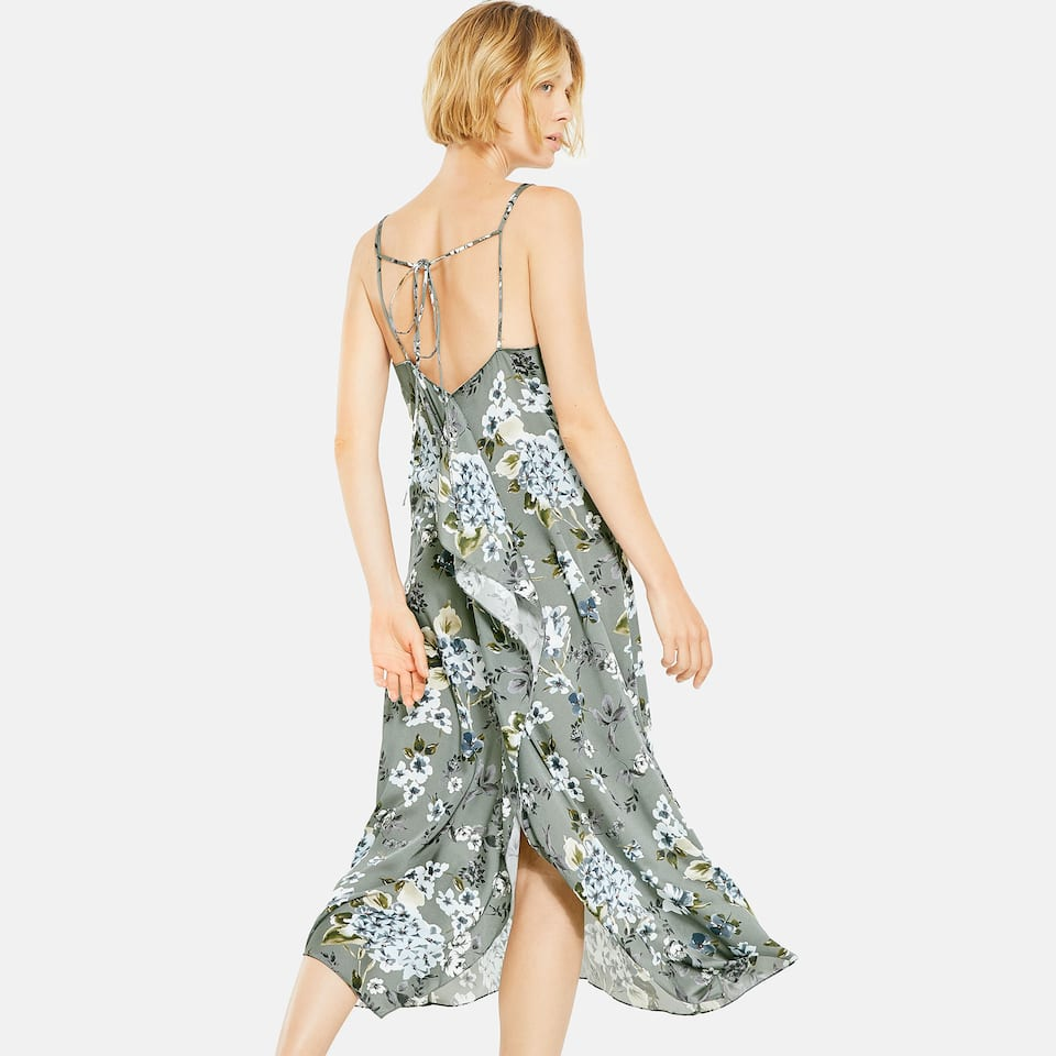 GREY FLORAL PRINT LONG STRAPPY NIGHTGOWN
