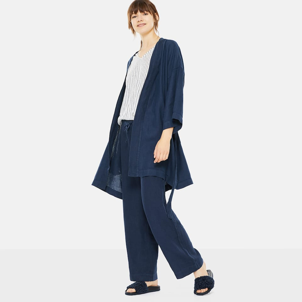 BLUE LINEN TROUSERS WITH DRAWSTRING CORD