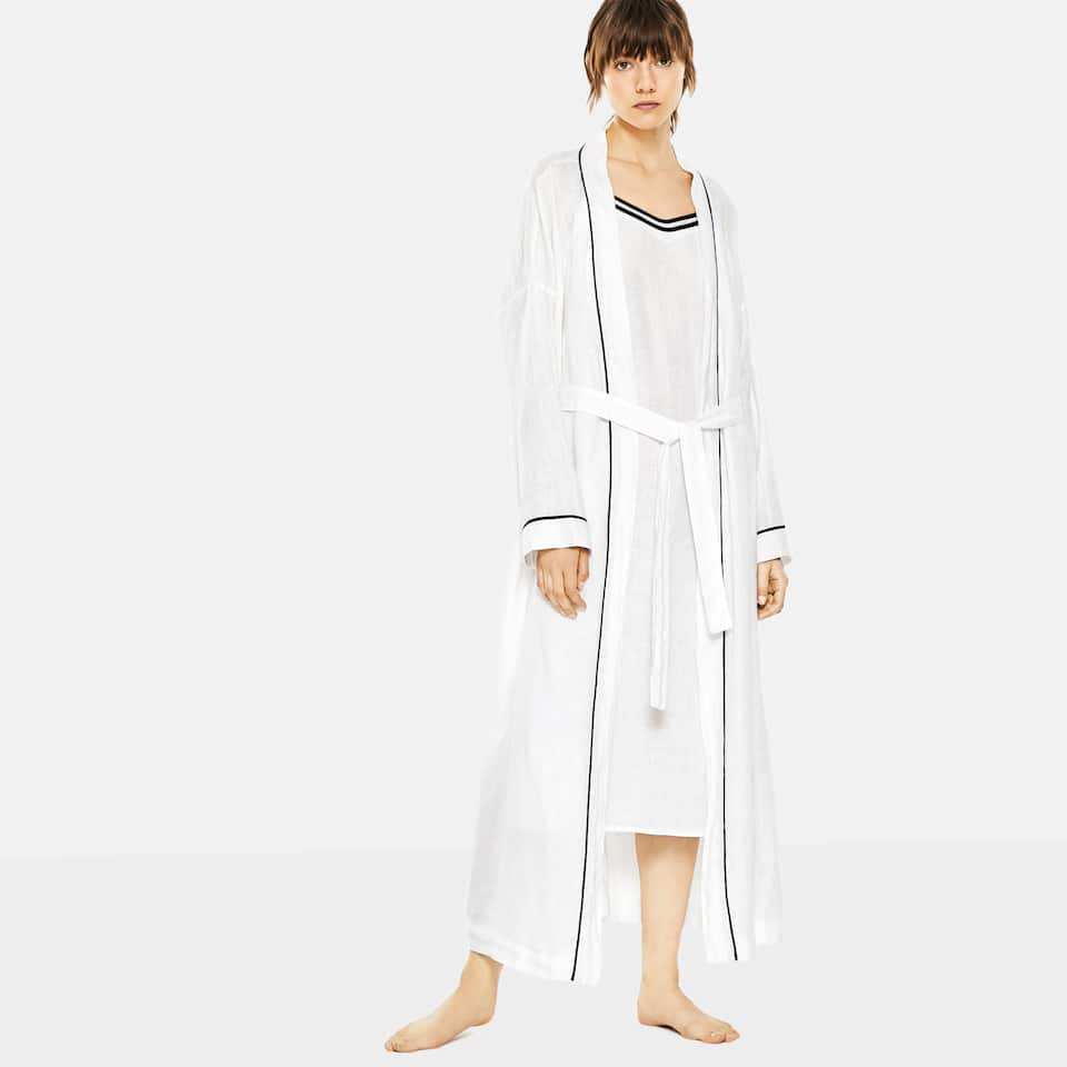 LONG WHITE LINEN KIMONO WITH BLUE TRIM