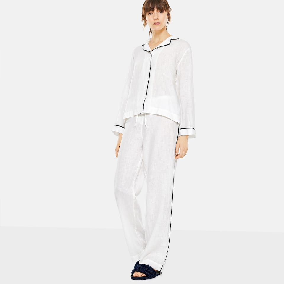 WHITE LINEN TROUSERS WITH BLUE TRIMS