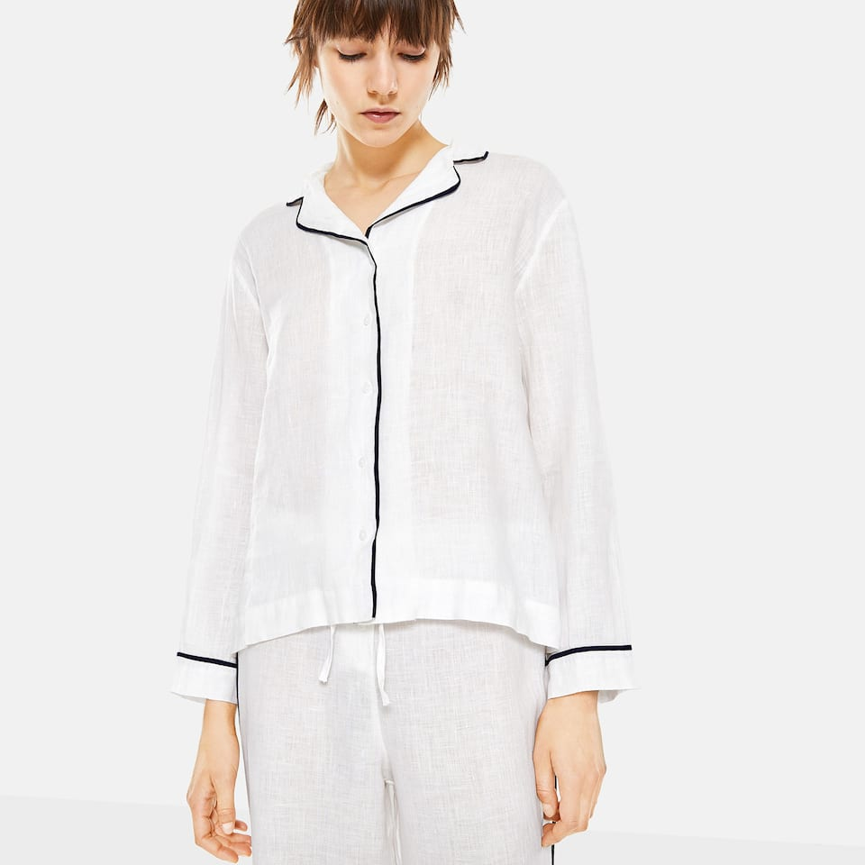 WHITE SILK AND LINEN SHIRT WITH BLUE TRIM