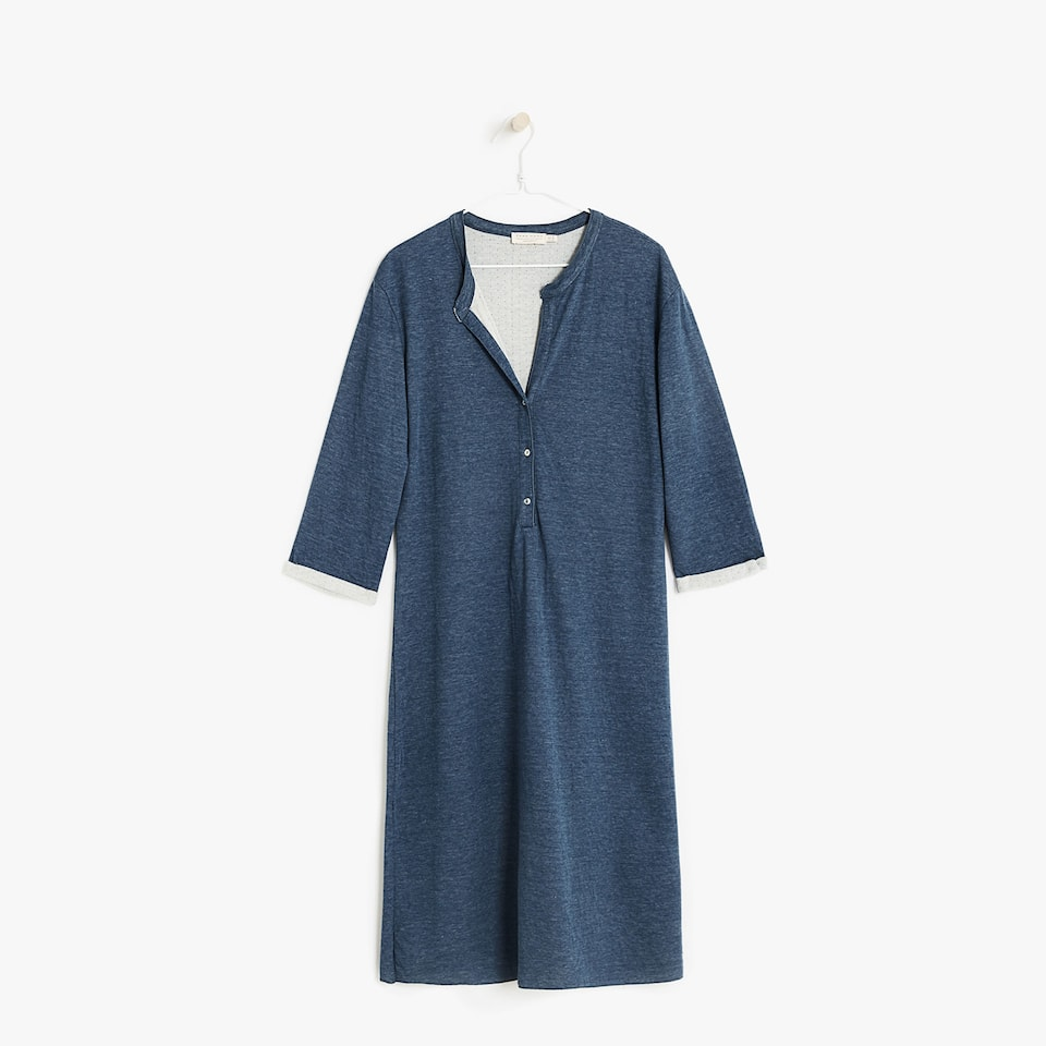 BUTTONED V-NECK NIGHTDRESS