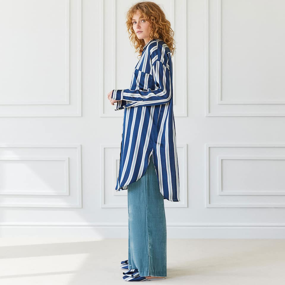 STRIPED VISCOSE TUNIC