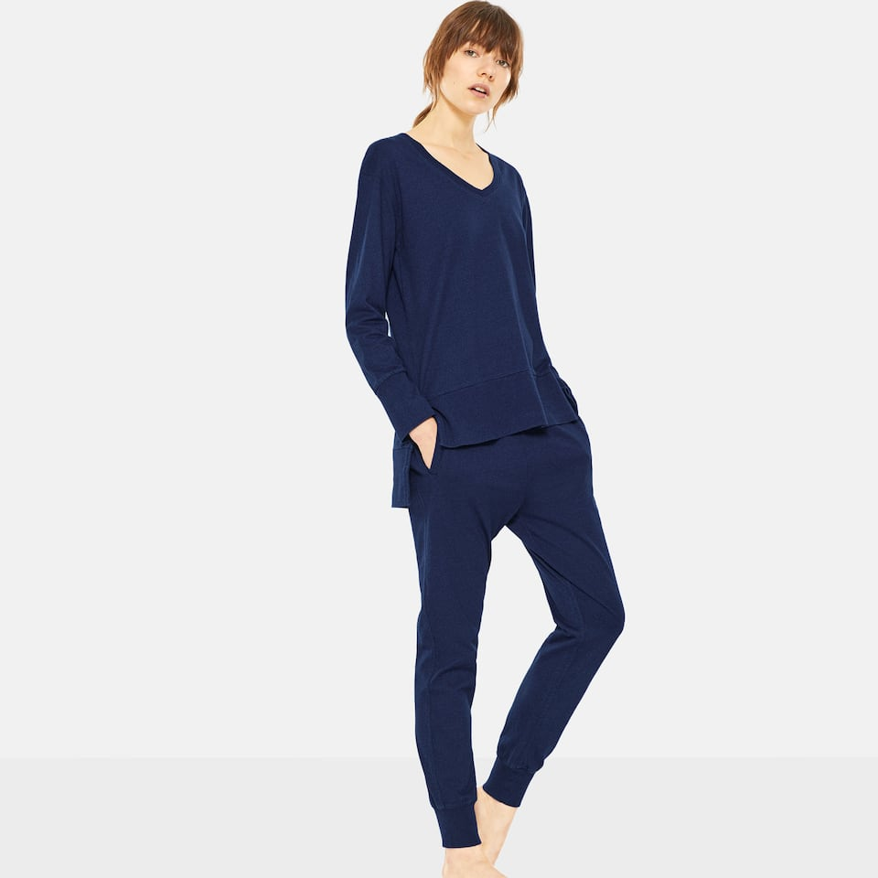 NAVY BLUE COTTON TROUSERS WITH ELASTIC HEMS