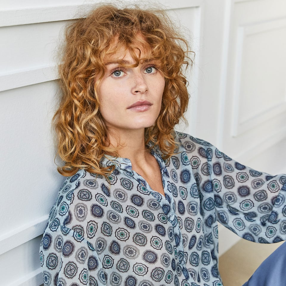 GEOMETRIC PRINT VISCOSE SHIRT