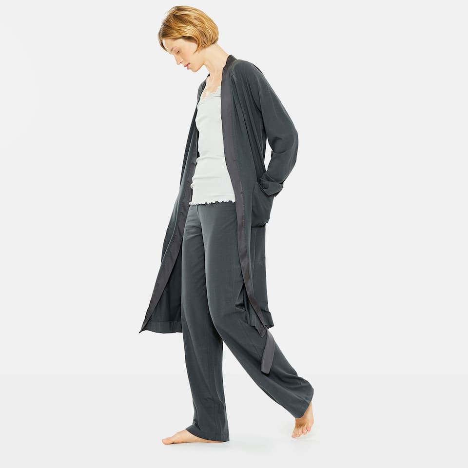 GREY WIDE-LEG TROUSERS