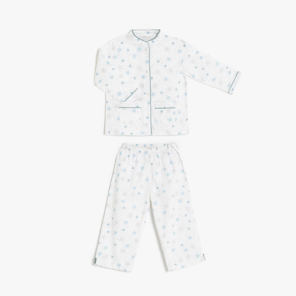 Star print mandarin collar pyjamas with contrasting piping