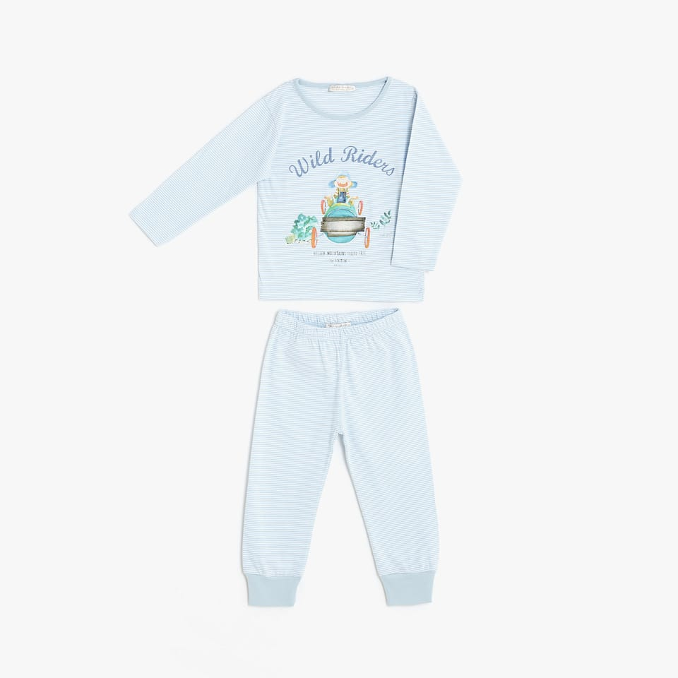 Cotton pyjamas with little cars and elastic cuffs on the trousers