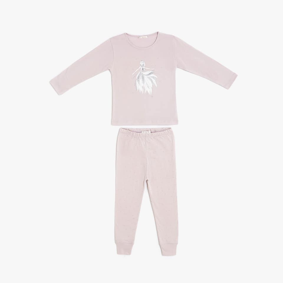 Fairy and star print cotton pyjamas with elastic cuffed trousers