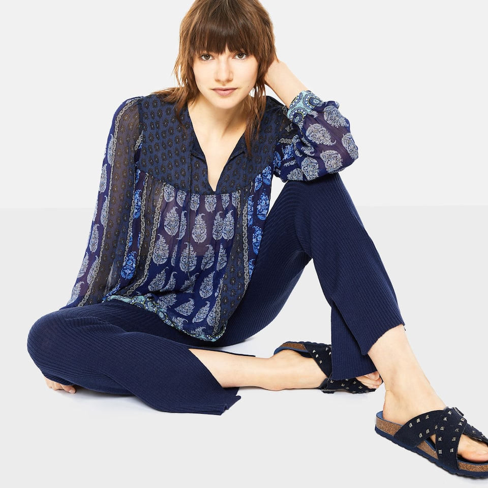 MELANGE KNIT TROUSERS WITH DRAWSTRING