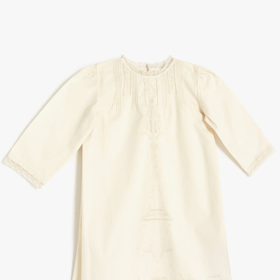 Short sleeve cotton nightdress with openwork