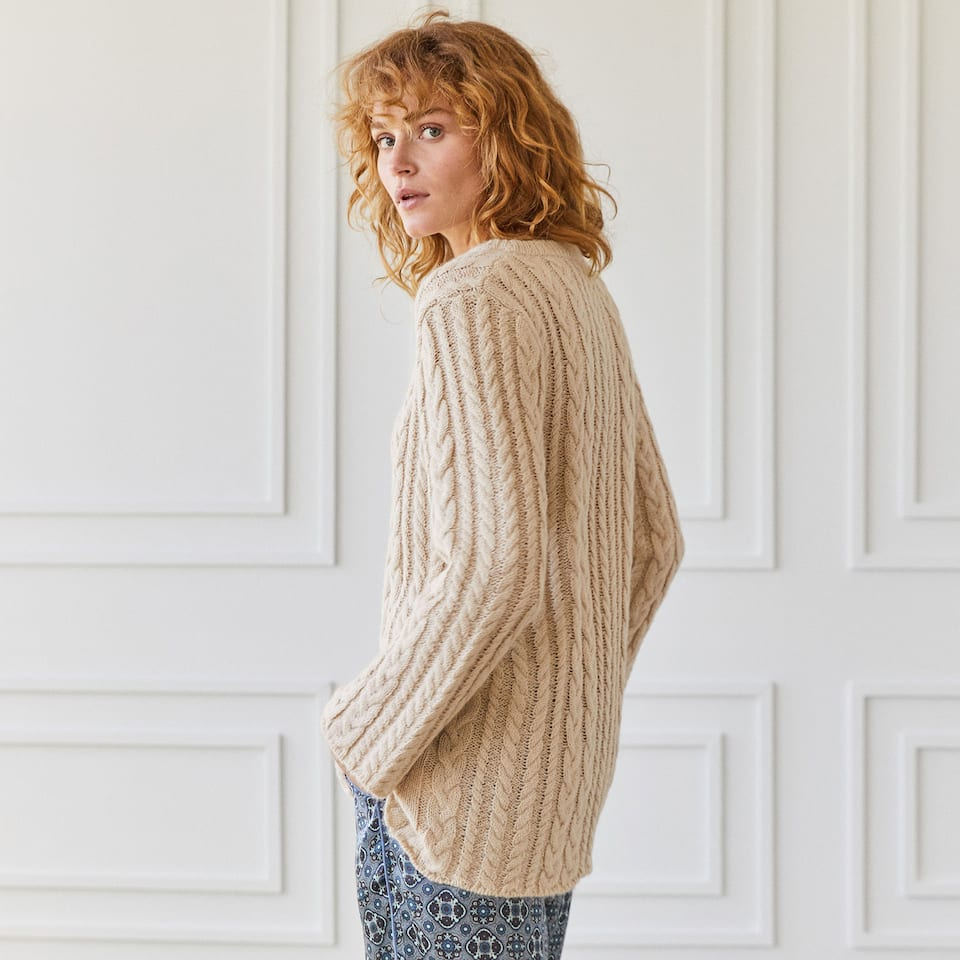 LONG ECRU CABLE-KNIT SWEATER