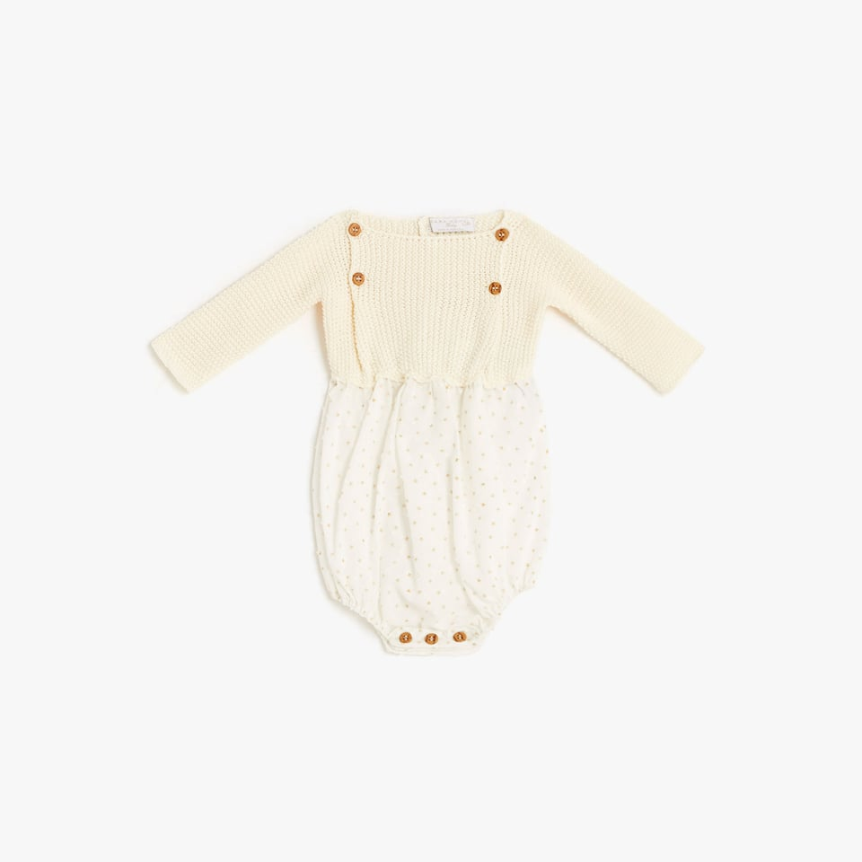 PRINTED AND PEARL KNIT COTTON ROMPER SUIT