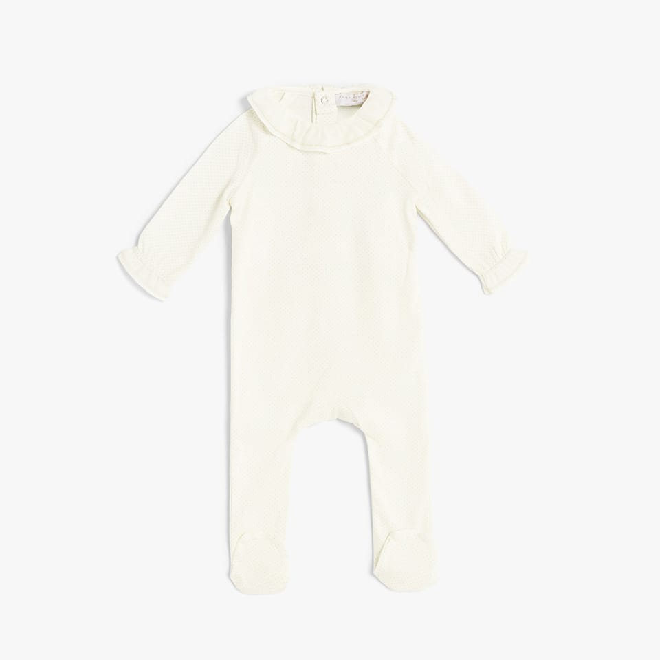 COTTON ROMPER SUIT WITH FRILLED CUFFS AND COLLAR