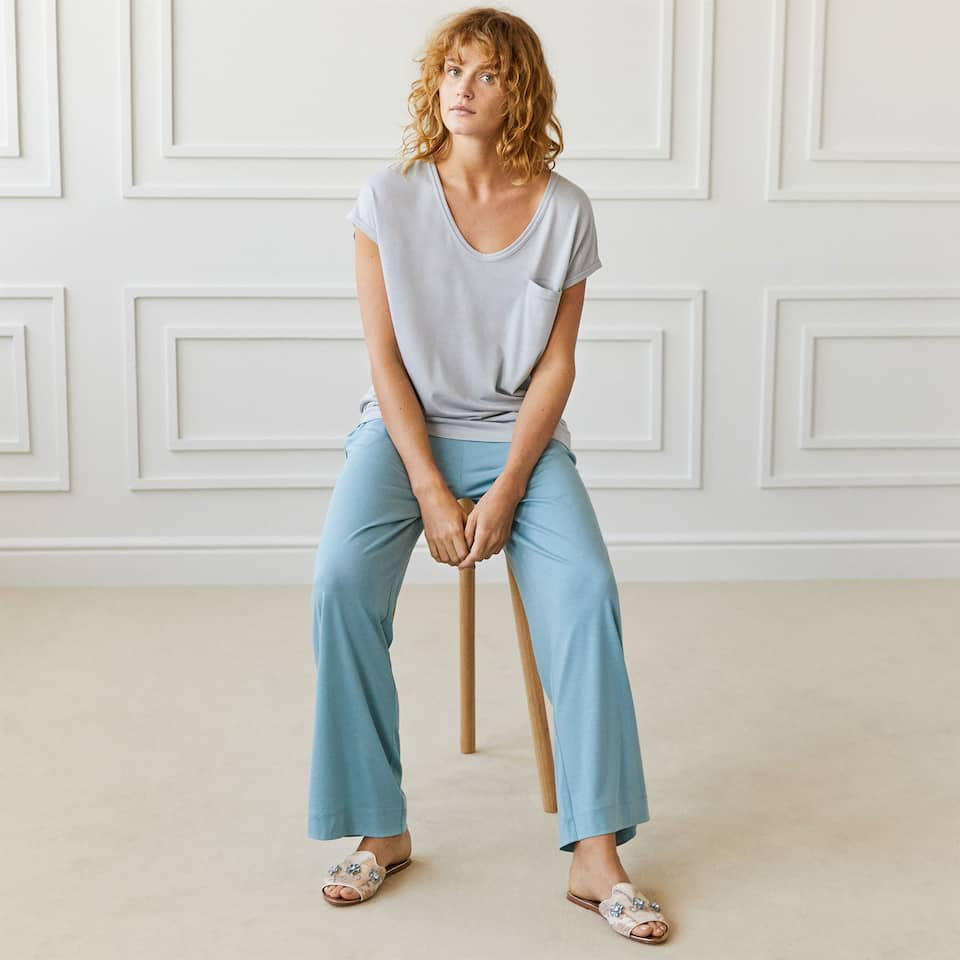 BLUE KNIT TROUSERS