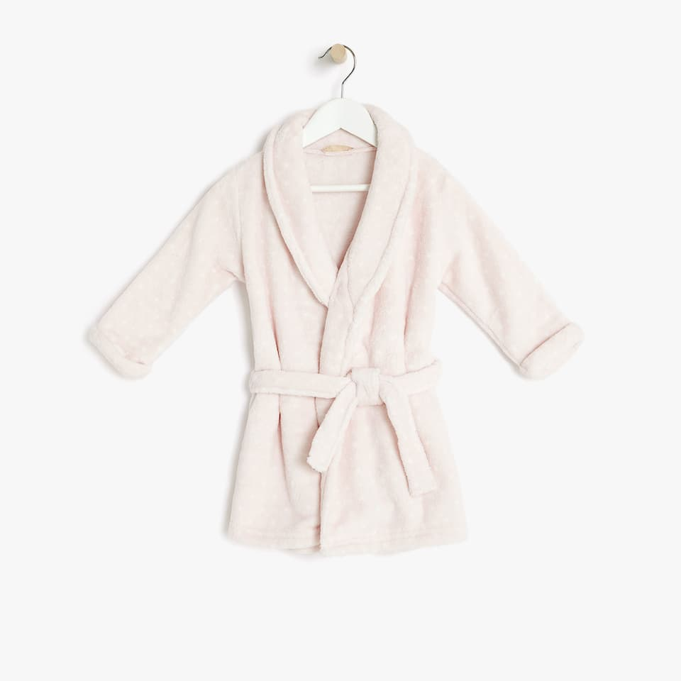 Dotted fleece dressing gown