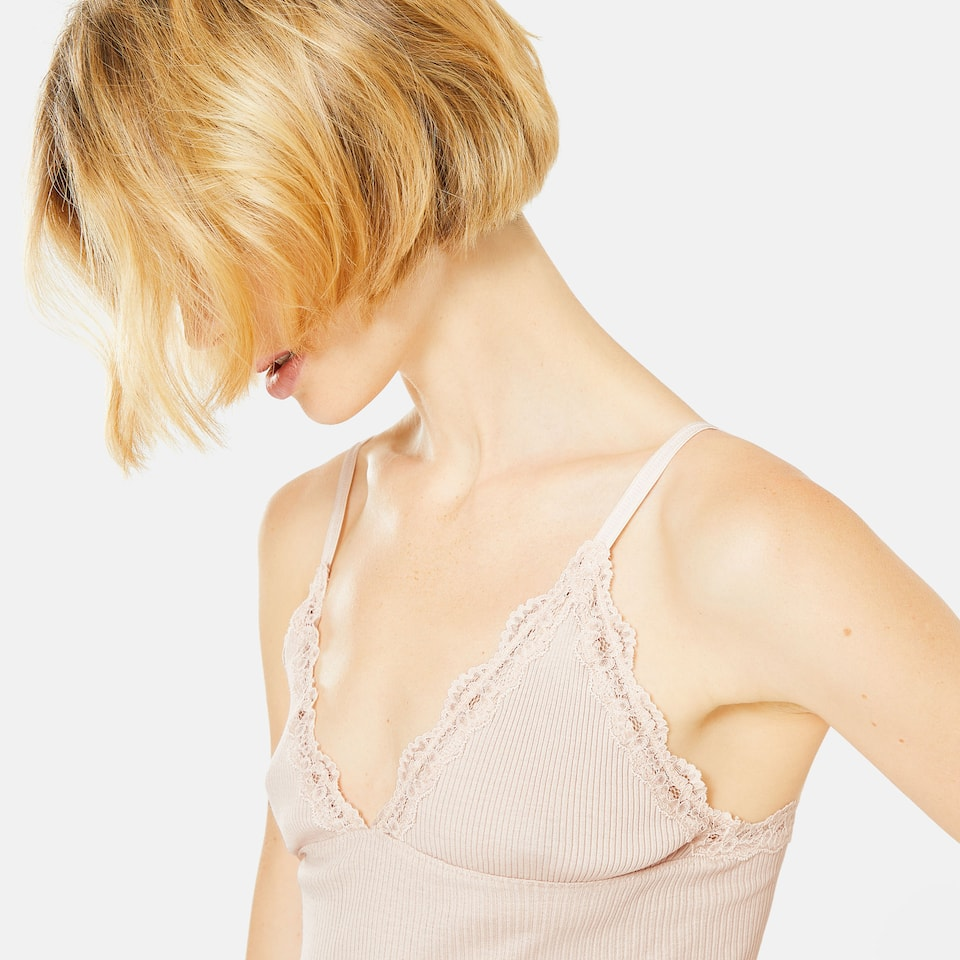PINK STRAPPY RIBBED TOP