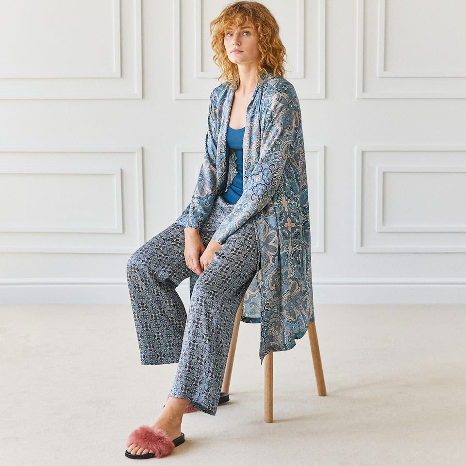 GEOMETRIC PRINT VISCOSE TROUSERS