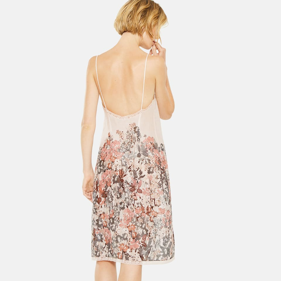 MULTICOLOURED FLORAL PRINT COTTON NIGHTDRESS