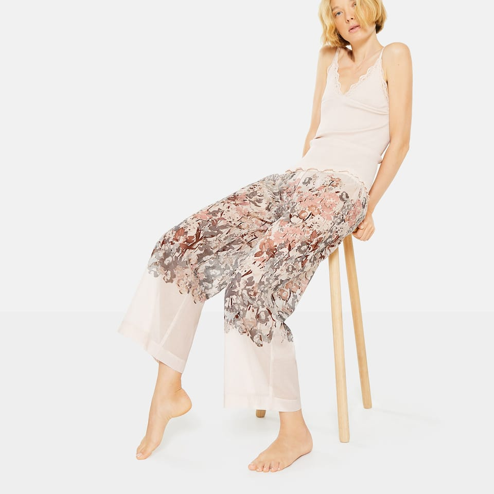 MULTICOLOURED FLORAL PRINT COTTON TROUSERS