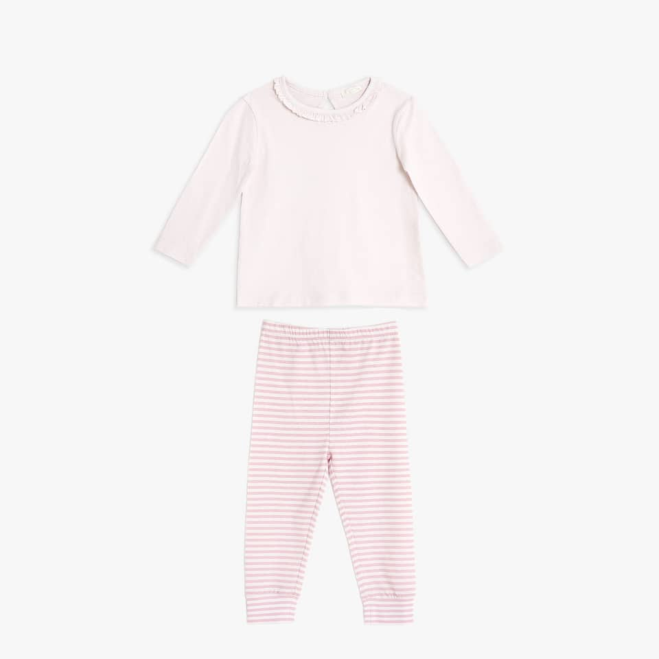 Cotton pyjamas with striped trousers