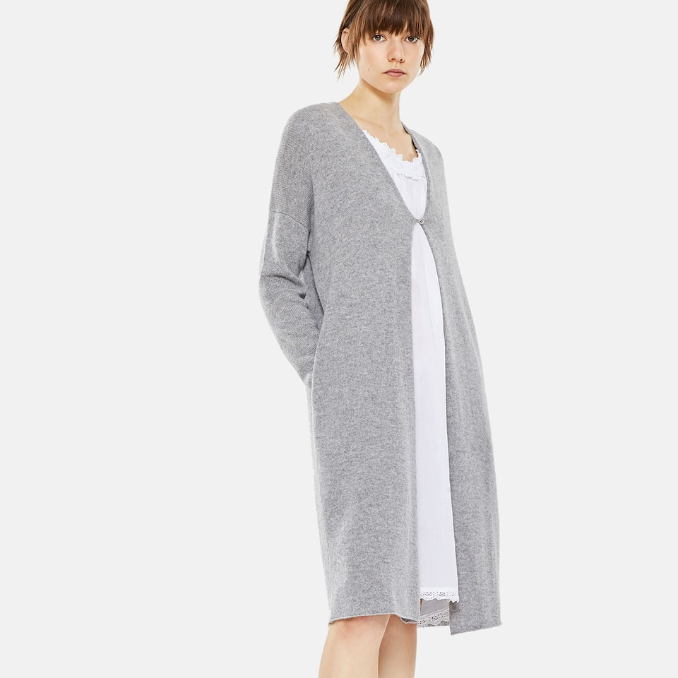 BUTTONED CASHMERE DRESSING GOWN