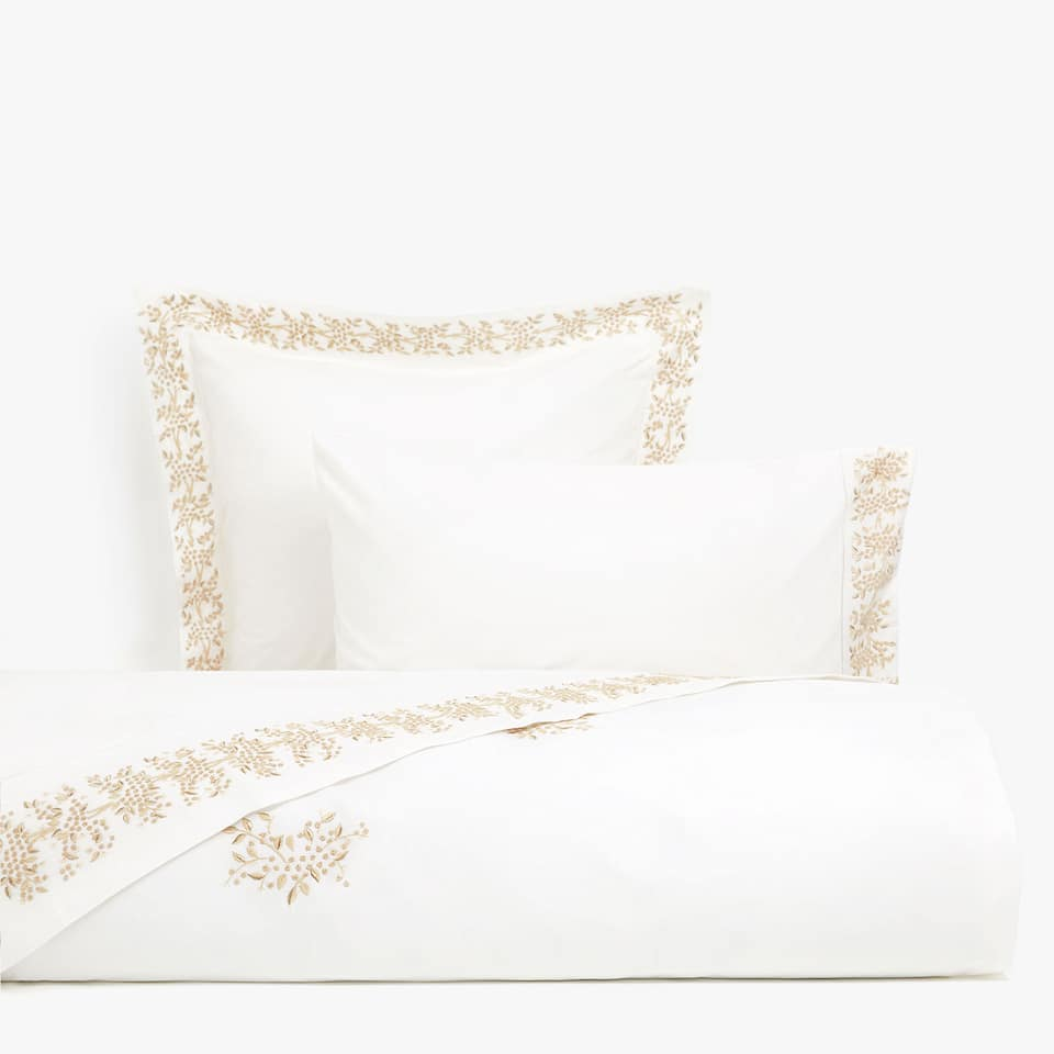 White duvet cover with mimosa embroidery