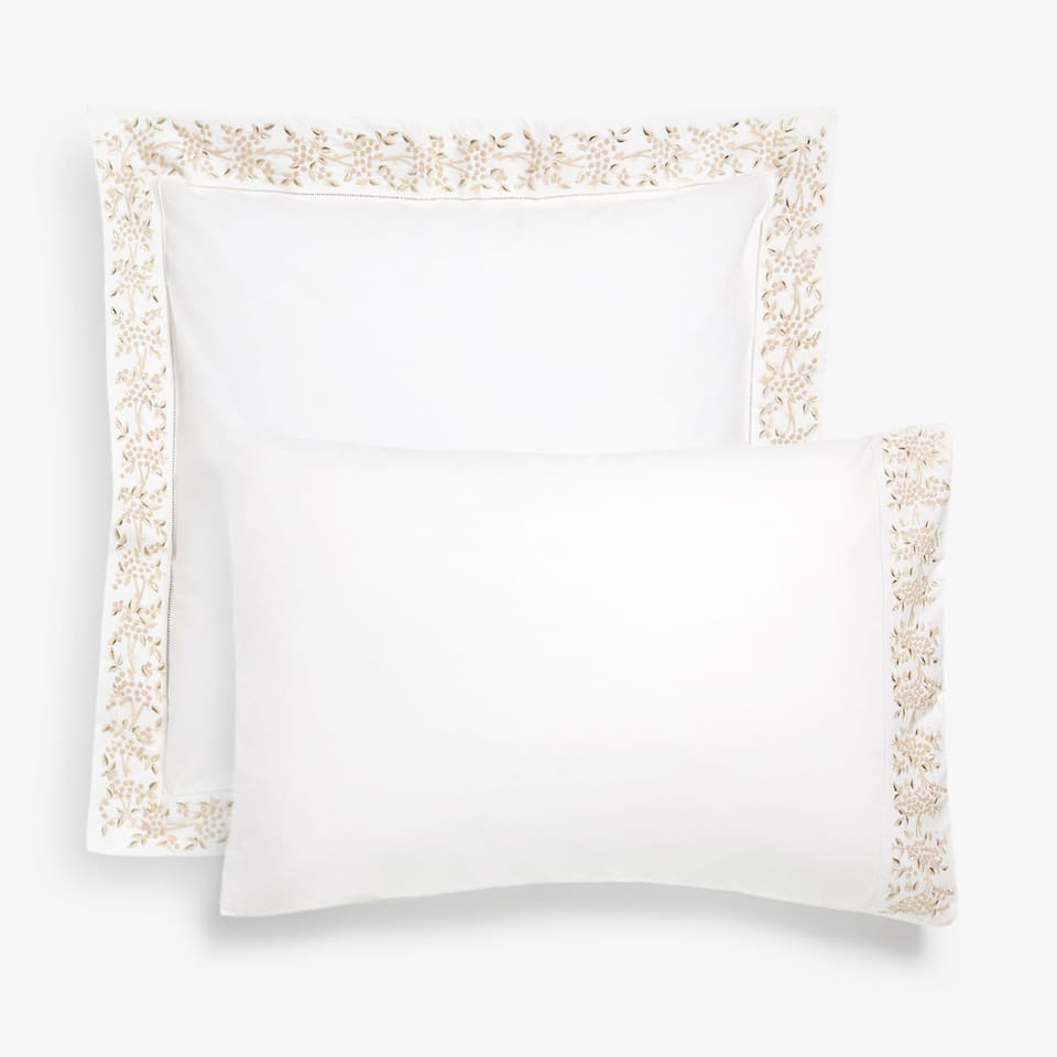 Mimosa embroidery pillow case