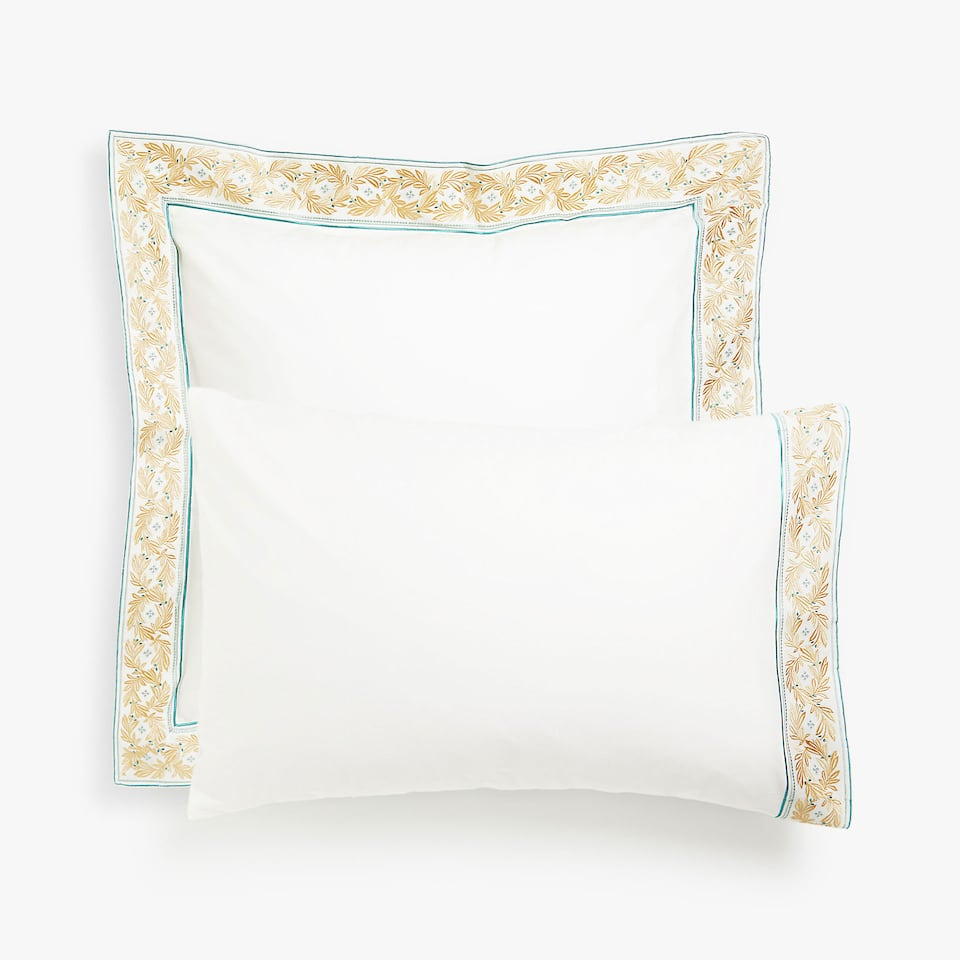 Gold embroidered leaves pillow case