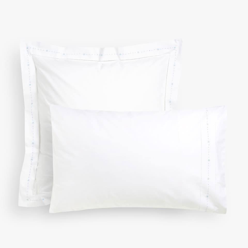PILLOW CASE WITH EMBROIDERED STARS AND HEMSTITCHING