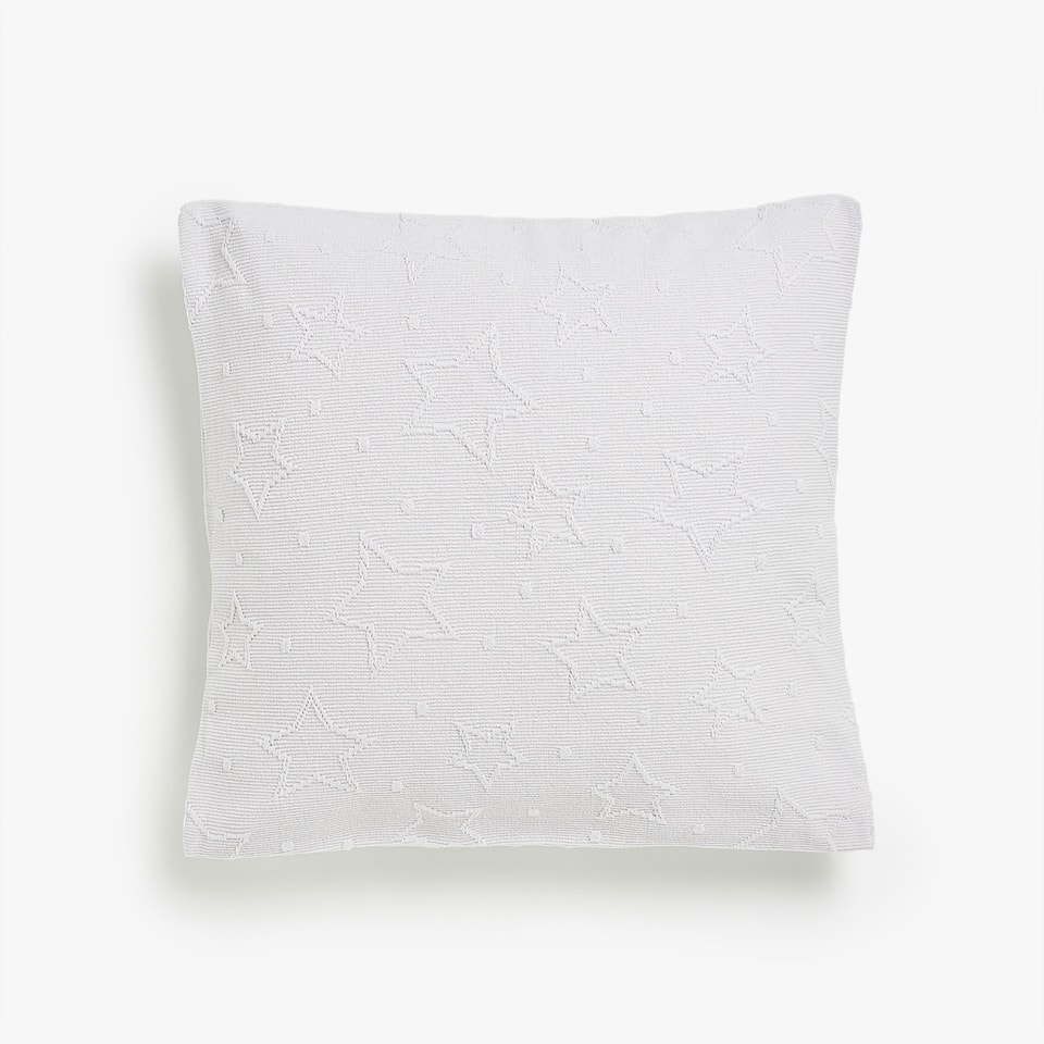 STAR PRINT AND POLKA DOT COTTON CUSHION COVER