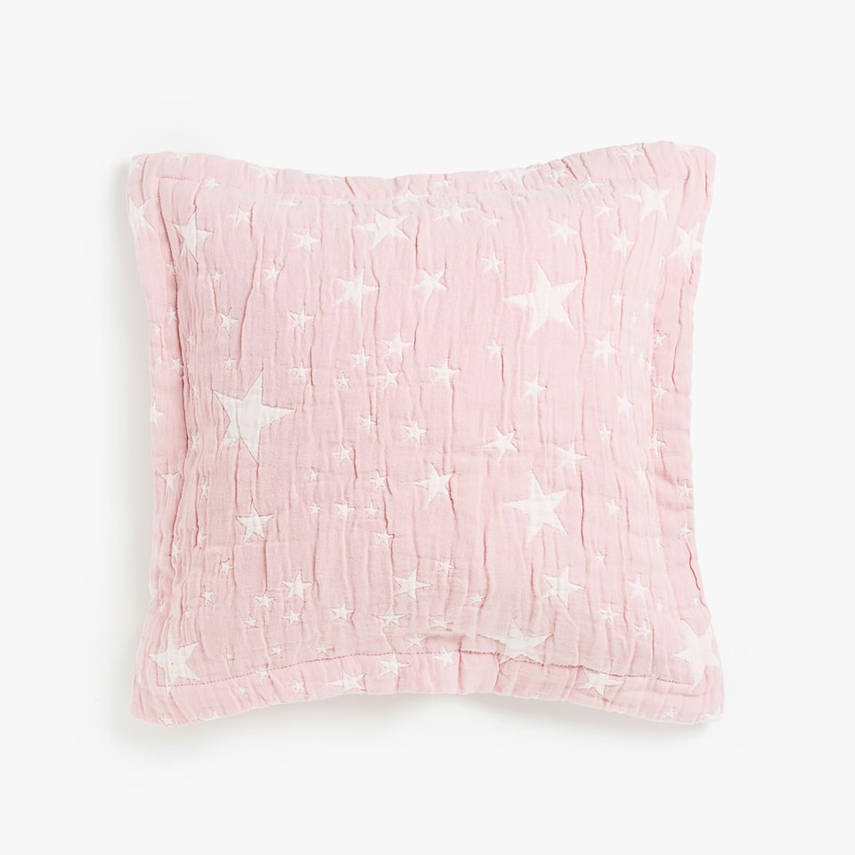 CONTRASTING STAR PRINT COTTON CUSHION COVER